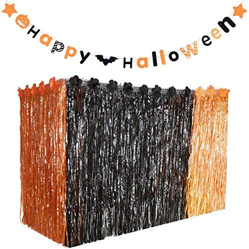 Gejoy Hawaiian Halloween Luau Party Grass Table Skirt Decorations Hula with Halloween Pumpkin Bat Stars Banners for Halloween -