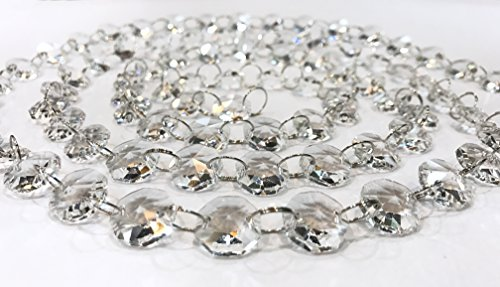 Moooni 6ft. Crystal Beads Chain Garland Chandelier Chain Octagon Glass Strands (Bead Glass Garland)