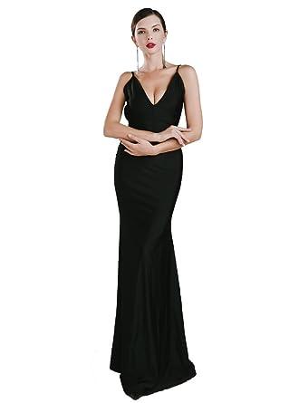Missord Womens Sexy V-neck Halter Sleeveless Backless Party Prom Dress Black Xsmall 6