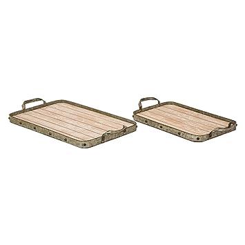 Brilliant Glitzhome Wood Serving Tray 20 15 Inch Farmhouse Decorative Tray Rustic Coffee Table Tray Wooden Ottoman Tray With Handles Set Of 2 Inzonedesignstudio Interior Chair Design Inzonedesignstudiocom