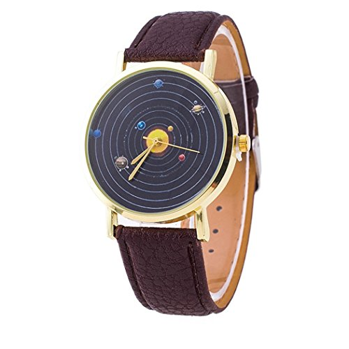 Vavna Top New Unisex Student Solar System Print Quartz Women's Leather Wrist Watch - Brown ()