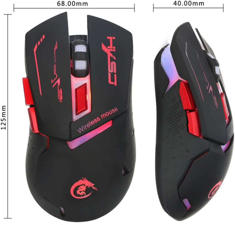 LIU551 Gaming Rechargeable Wireless Backlight Backlit Illuminated Glowing Game Mouse 7 Color Colorful USB 2.4Ghz 2400 DPI,A