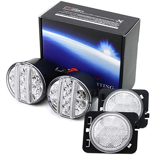 (iJDMTOY Clear Lens LED Daytime Running Lights/Turn Signal Lamps w/Fender Flare LED Side Markers Combo Kit For 2007-2017 Jeep Wrangler JK)