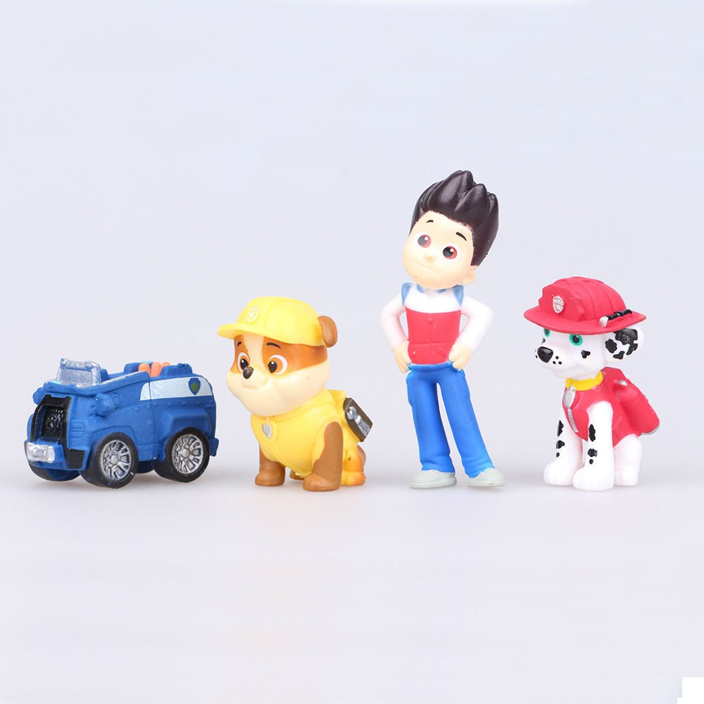 Paw Patrol Deluxe Figure Set of 12 Toy Kit with Stickers Mini Cake Toppers Cupcake Decorations Party favors Featuring Ryder 5 Vehicles By Infinite Deals and Creations Marshall Skye Chase