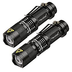 Flashlights,Hausbell 7W Ultra Bright Mini LED Flashlight-High Lumen,Adjustable Focus,3 Light Modes,Water Resistant for Camping,Outdoor and Hiking(2 Pack)