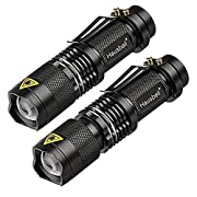 #LightningDeal 64% claimed: Flashlights,Hausbell 7W Ultra Bright Mini LED Flashlight-High Lumen,Adjustable Focus,3 Light Modes,Water Resistant for Camping,Outdoor and Hiking(2 Pack)