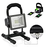 Upgrade (Magnet Base) 15W 24LED Outdoor floodlight Camping Shop Lights Vaincre Portable LED Work Lights, Built-in Rechargeable Lithium Batteries with USB Ports to Charge Mobile Devices