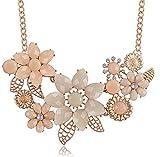 BeOne® Temperamental Bohemia Style Flower Shaped CZ Rhinestone Bubble Bib Choker Statement Chain Necklace
