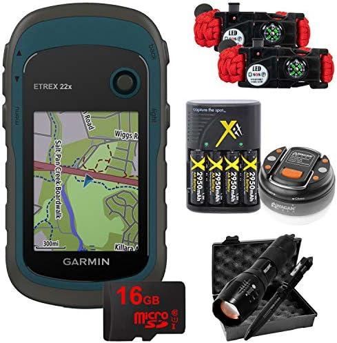 Garmin eTrex 22x Rugged Handheld GPS with 16GB Camping Hiking Bundle 010-02256-00