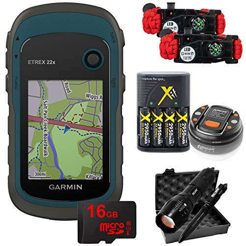 Garmin eTrex 22x: Rugged Handheld GPS with LED Dome Lantern, 4 Rechargeable AA Batteries, 16GB MicroSD Memory Card, Tactical Flashlight and Pen Set, and Survival Bracelet (2-Pk) Bundle - 010-02256-00