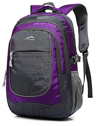 Backpack Bookbag for School College Student Sturdy Travel Business Hiking Fit Laptop Up to 15.6 Inch Multi Compartment Night Light Reflective (Purple)
