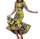 Women's Short Sleeve Batik Mermaid Dashiki Africa Simple Long Dress Khaki 4XL