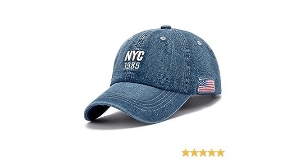 Gorra de béisbol de tela vaquera azul, de la ciudad de Nueva York, de 1985, con bandera estadounidense: Amazon.es: Coche y moto