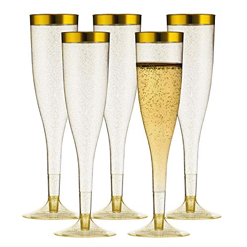 TasteOfQuality Gold Plastic Champagne Flutes - 50-Pcs , Gold Glitter, 6.5 Oz Heavy Duty Wine Glass, Clear Plastic Toasting Glasses, Gold Rim Champagne Flutes, Plastic Wine Glasses for Parties -