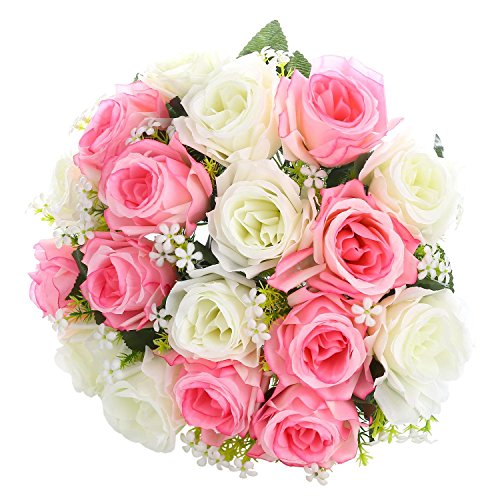 SOLEDI Artificial Flowers 18 Heads Mix Color Simulation Roses for Wedding Home Decor (Sunny Day Rose Bouquet)
