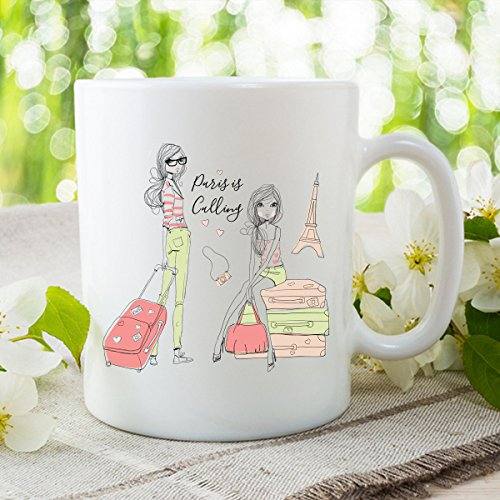 Paris Is Calling, Wanderlust, Bohemian Spirit, Eiffel Tower, Coffee Mug, Gift-For-Woman, Wife Christmas, Statement Wife Gift, Cute Mug, 11oz, 15oz, gift (Unique Gift Baskets Dallas Texas)