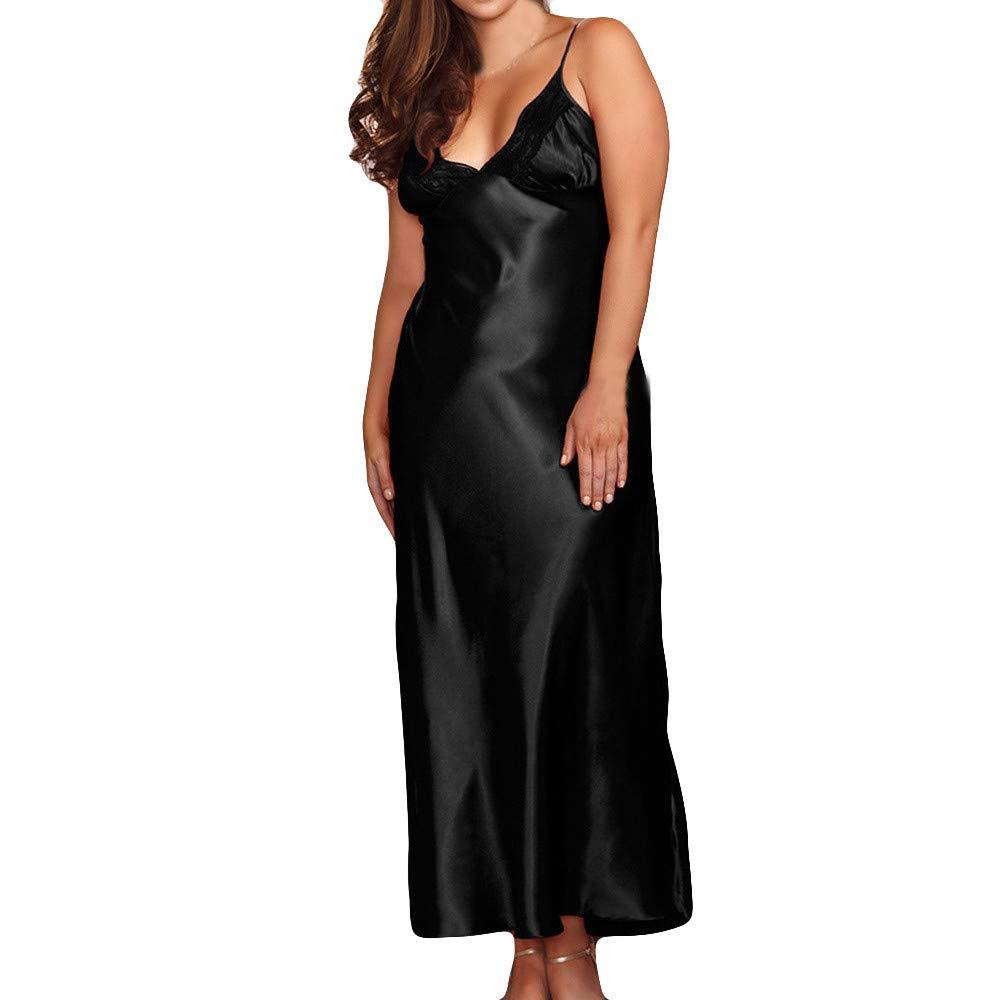 c2ae2c12d80 Amazon.com  Kanhan❤ Women Long Sexy Silk Satin Sleeveless Dress Gown  Babydoll Lace Lingerie Bath Robe (2XL