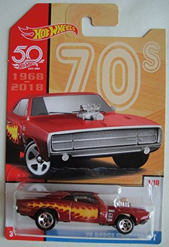 Hot Wheels 70s, RED with Flame '70 Dodge Charger R/T 50TH Anniversary 1/10