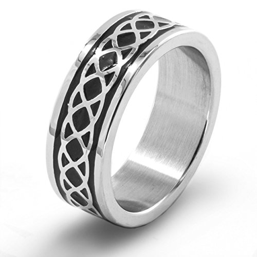 Men's Stainless Steel Braided Celtic Knot Ring (8 mm) - Size 9 -  West Coast Jewelry, WCJ-SS6017-9