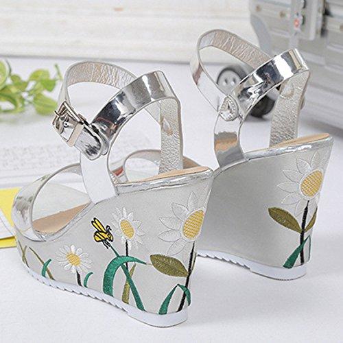 Azbro Mujer Sandalias Floral con Hebilla de Tacón Cuña Puntera Abierta Plateado