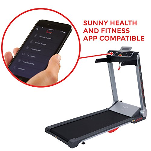 Sunny Health & Fitness Motorized Folding Running Treadmill with Wide Base, Portable, USB, Aux, Flat Folding & Low Profile - Strider, SF-T7718, Black by Sunny Health & Fitness (Image #3)