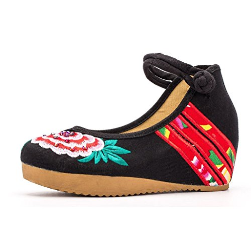 Platform Mary Loafers Black 39 Cheongsam Chinese Dress Shoes EU Ballet Jane Casual Wedges Embroidery Traditional Women's Eagsouni XaqBOz