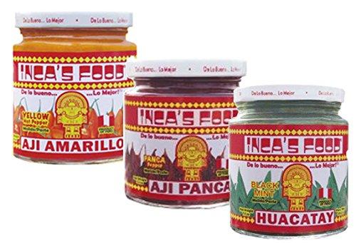 Aji Amarillo Pepper - Inca's Food Mixed Sampler - Aji Amarillo, Aji Panca, and Huacatay - (3) 7.5 Oz Jars