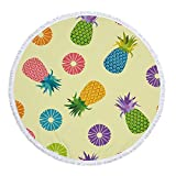 KRWHTS Round Roundie Tropical Pineapple Indian Mandala Yoga Picnic Mat Wall Hanging Tablecloth Decorations (36)
