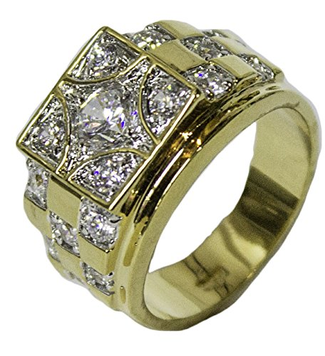 - RS Covenant Men's18 Kt Gold Plated Dress Ring Square CZ Pattern 074 (13)