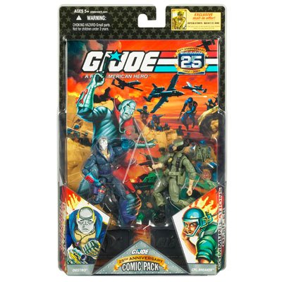 GI Joe 25th Anniversary Comic Pack with Destro and Scarred Cpl. Breaker Action Figure Set -