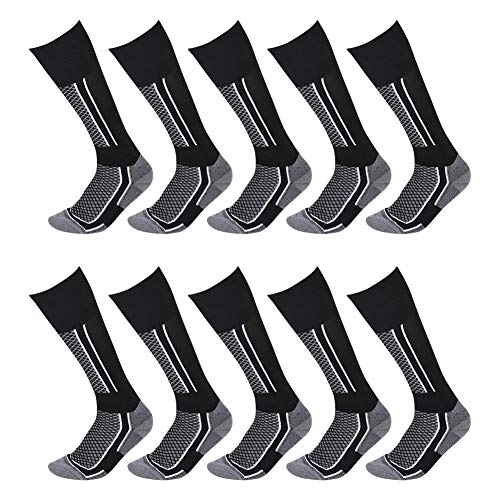 10 Packs Men's Premium Over-the-Calf Socks, Athletic Tactical Trekking Hiking Canterbury Boot Socks Black & White One Size ()