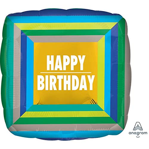 Happy Birthday Blue Squares 18'' Mylar Balloon Birthday Party Decorations Supplies 18' Square Mylar Balloon