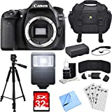 Cheap Canon EOS 80D 24.2 MP CMOS Digital SLR Camera (Body) Deluxe Bundle includes Camera, Case, Tripod, 32GB Memory Cards, LP-E6 Battery, Flash, Cleaning Kit, Beach Camera Cloth and More