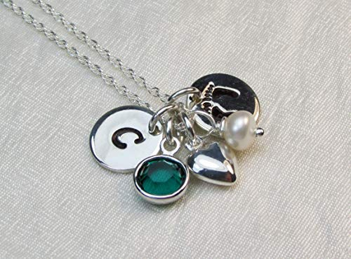 Birthstone Necklace Personalized Mothers Necklace New Baby Gift Idea Footprints Initial Necklace Sterling Silver Heart Charm Monogram Jewelry for Mom