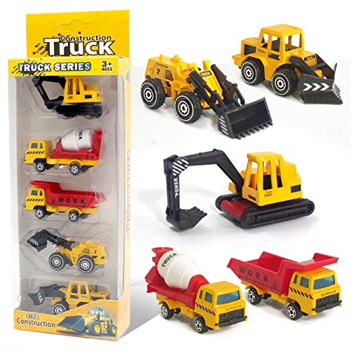 Vehicles for Kids Toys, 5 Assorted Mini Diecast Trucks Excavator Loader Bulldozer Dump Cement Mixer, Tiny Toys for Toddlers Boys and Girls, Construction Cake Topper Party Favors ()