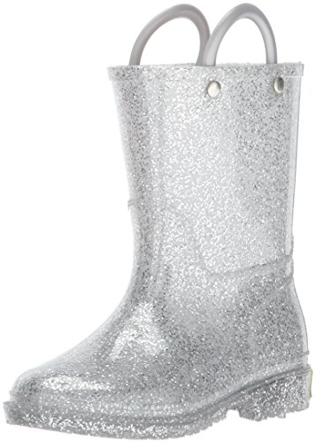 Western Chief Girls Glitter Rain Boot, Silver, 9 M US Toddler ()