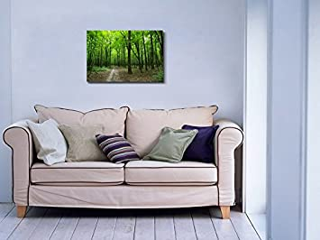 Canvas Prints Wall Art – Beautiful Scenery Landscape Quiet Path in The Green Forest Modern Wall Decor Home Decoration Stretched Gallery Canvas Wrap Giclee Print Ready to Hang – 24 x 36