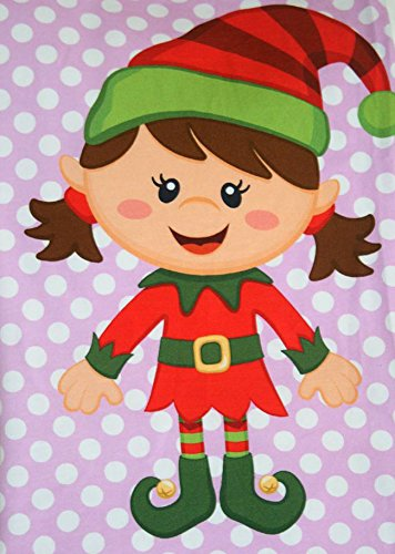 Santa Elf Girl on Pink Design, Fabric Panel Printed on Organic Knit, 12.50 Inches Tall (3 Panels) by Fabric Fairytales