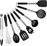 Cooking Utensils Set - 8 Piece Silicone Kitchen Spatula Set - Black Professional BPA Free Cooking Utensils - Best Silicone Kitchen Tool Set