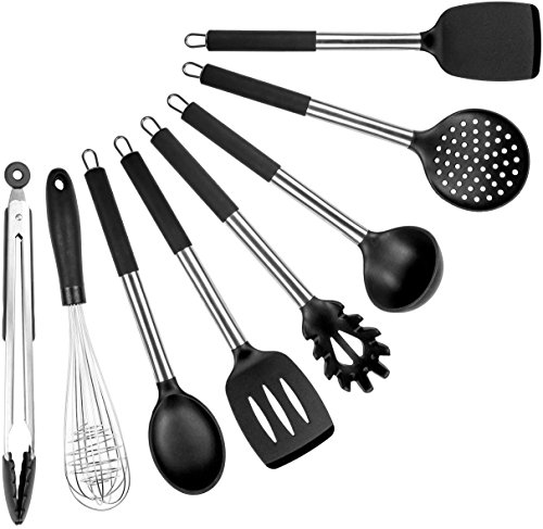 Cooking Utensils Set - 8 Piece Silicone Kitchen Spatula Set - Black Professional BPA Free Cooking Utensils - Best Silicone Kitchen Tool Set (Tool Black Kitchen)