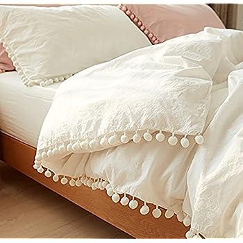 Amazon Com White Pom Fringe Duvet Cover Full Queen