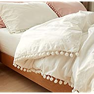 White Pom Pom Fringed Cotton Cover Full Queen,80inx86in