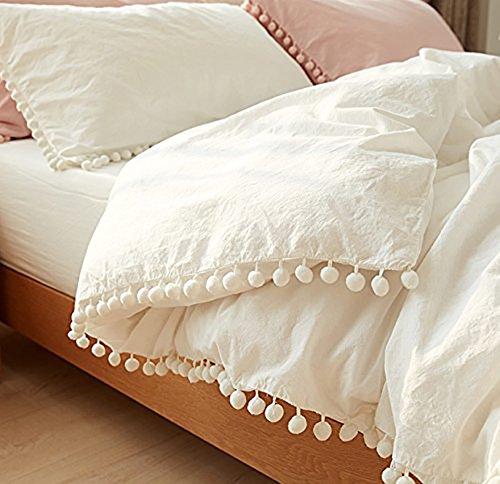 White Pom Pom Fringed Cotton Cover Full Queen,80inx86in (Boho Comforter)