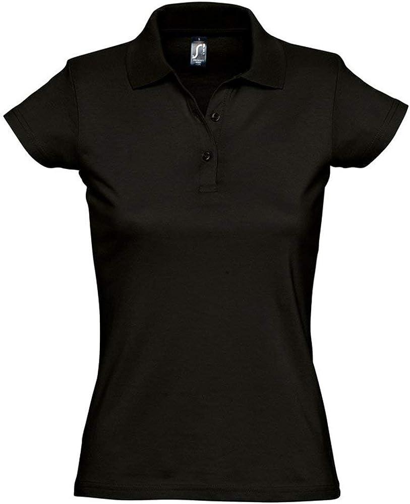 SOLS - Polo de algodón para Mujer Negro Negro Intenso S: Amazon ...