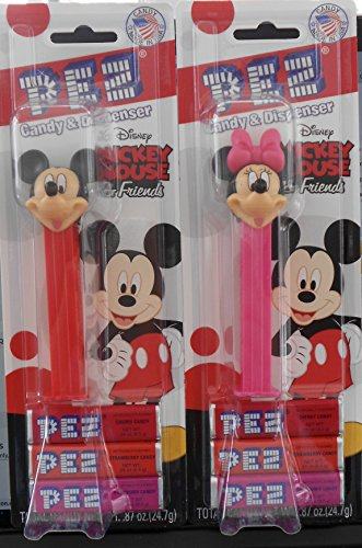 Mickey Mouse Clubhouse Mickey & Minnie Mouse Pez Dispensers on Blister Cards with 3 Rolls of Candy Each -