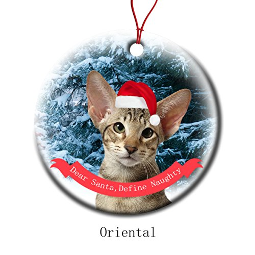 (Xmas Ornaments Ceramic Flat Round Snowflakes Santa Cat Oriental Custom Tree Branch Hanging Decoration for Holiday Season)