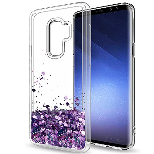 Samsung Galaxy S9 Plus Glitter Case (Not Fit S9) for Girls Women,LeYi Sparkle Shiny Bling Liquid Clear TPU Protective Phone Case for Galaxy S9 Plus / S9 + ZX Purple