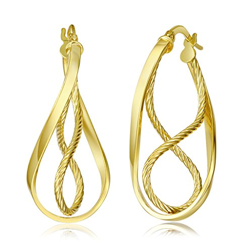 Wellingsale Ladies 14k Yellow Gold Polished 3mm Twisted Rope Design Hinged Earrings (36 x 23 mm) (Twisted Yellow Design 14k)