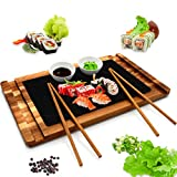Wooden Sushi Board Tray Set - Modern Rectangle Acacia Wood Platter Serving Set Kit w/ Slate Stone Plate, Ceramic Sauce Bowls, Chopsticks - For Presentation or Cutting Fruit, Meat - NutriChef PKSUSH10