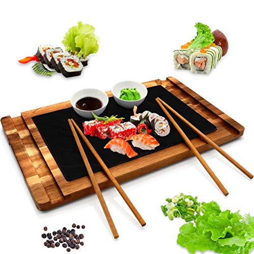 - Wooden Board Sushi Serving Plate - Rectangular Japanese Sushi Serving Plate - Acacia Wood Platter Display/Cutting/Serving Tray Set - Slate Plate, 2 Ceramic Sauce Bowls, Chopstick - NutriChef PKSUSH10